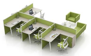 【西安办公家具】经典绿色办公屏风