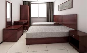 西安板式床-酒店家具床